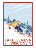 Lake Geneva, Wisconsin - Downhill Skier Art by  Lantern Press