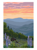 Spring Flowers and Bear Family Foothills Prints by  Lantern Press