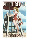 Palm Beach, Florida - Pinup Girl Lifeguard Art by  Lantern Press