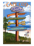 Dennis Village, Cape Cod, Massachusetts - Sign Destinations Prints by  Lantern Press
