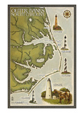Lighthouse and Town Map - Outer Banks, North Carolina Prints by  Lantern Press