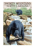 Smokey Mountains, North Carolina - Bears Fishing Posters by  Lantern Press