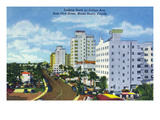 Miami Beach, Florida - North View Up Collins Avenue Poster by  Lantern Press
