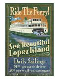 Lopez Island, Washington - Ferry Ride Prints by  Lantern Press