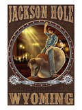 Cowboy and Mechanical Bull - Jackson Hole, WY Prints by Lantern Press