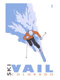 Vail, CO - Stylized Skier Print by Lantern Press