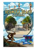 Hermosa Beach, California - Montage Scenes Kunstdrucke von  Lantern Press