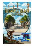 Hermosa Beach, California - Montage Scenes Prints by  Lantern Press