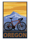 Mountain Bike and Mt. Hood - Oregon Prints by  Lantern Press