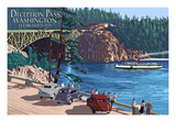 Whidbey Island, Washington - Deception Pass Bridge Posters by Lantern Press 
