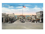 Hermosa Beach, California - View of Pier Avenue Prints by Lantern Press