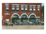 Battle Creek, Michigan - Fire Station No 1 with Firetrucks and Firefighters Posters by  Lantern Press