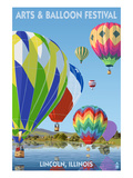 Lincoln, Illinois - Illinois Arts and Balloon Festival - Hot Air Balloons Prints by Lantern Press 