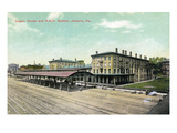 Altoona, Pennsylvania - Logan House and Pa Railroad Station Views Prints by  Lantern Press