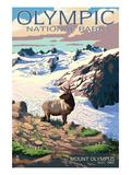 Mt. Olympus and Elk - Olympic National Park, Washington Kunstdrucke von  Lantern Press
