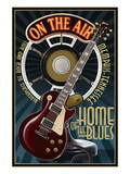 Memphis, Tennessee - Guitar and Microphone - Blue Print by Lantern Press