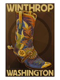 Winthrop, Washington - Boot Design Poster by Lantern Press