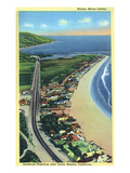 Malibu, California - Aerial View of Beach Homes Along Roosevelt Highway Kunst von  Lantern Press
