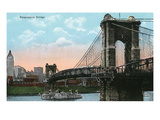 Cincinnati, Ohio - Suspension Bridge Scene Posters by  Lantern Press