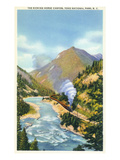 Yoho Nat'l Park, British Columbia - Train in the Kicking Horse Canyon Prints by  Lantern Press