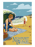 Newport Beach, California - Woman on the Beach Posters by  Lantern Press