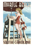 Myrtle Beach, South Carolina - Pinup Girl Lifeguard Print by Lantern Press