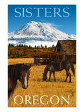 Horses and Mountain - Sisters, Oregon Prints by  Lantern Press