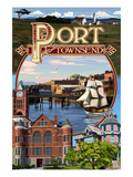 Port Townsend, Washington - Montage Scenes Print by  Lantern Press