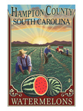 Hampton County, South Carolina - Watermelon Field Láminas por Lantern Press