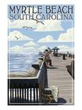 Myrtle Beach, South Carolina - Pier Scene Poster von  Lantern Press