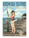 Kiawah Island, South Carolina - Pinup Girl Fishing Prints by  Lantern Press