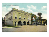 Kalamazoo, Michigan - Central Fire Station Exterior View Posters by  Lantern Press