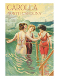 Carolla, North Carolina - Beach Scene with Three Ladies in Swim Attire in Water Prints by Lantern Press 