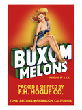 Buxom Melons - Crate Label Prints by Lantern Press 