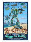 Santa Monica, California - Atlantean Invaders Poster von Lantern Press