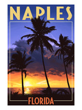 Naples, Florida - Palms and Sunset Lámina por Lantern Press