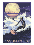 Montauk, New York - Night Surfer Poster by  Lantern Press