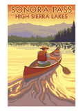 High Sierra Lakes - Sonora Pass, California - Canoe Scene - Lantern Prints by  Lantern Press