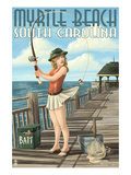 Myrtle Beach, South Carolina - Pinup Girl Fishing Kunstdrucke von  Lantern Press