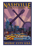 Nashville, Tennessee - Skyline at Night Affiches par Lantern Press