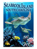 Seabrook Island, South Carolina - Sea Turtles Swimming Art by  Lantern Press