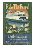 Bainbridge Island, Washington - Ferry Ride Poster by  Lantern Press
