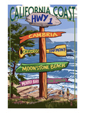California Hwy 1 - Destination Sign Posters by  Lantern Press