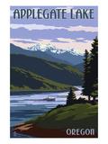 Applegate Lake, Oregon and Fisherman Print by  Lantern Press