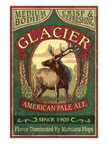 Glacier National Park - Elk Pale Ale Prints by Lantern Press