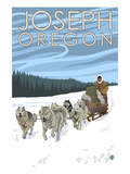 Joseph, Oregon - Dog Sled Scene Art par Lantern Press