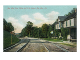Pen Mar, Pennsylvania - View of the Post Office and Railroad Depot Prints by  Lantern Press