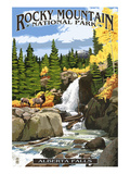 Alberta Falls - Rocky Mountain National Park Plakat af Lantern Press