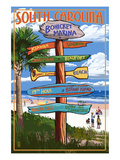 Bohicket Marina, South Carolina - Sign Destinations Prints by Lantern Press
