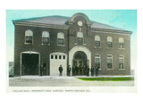 North Chicago, Illinois - Village Hall Fire Station View Art by  Lantern Press